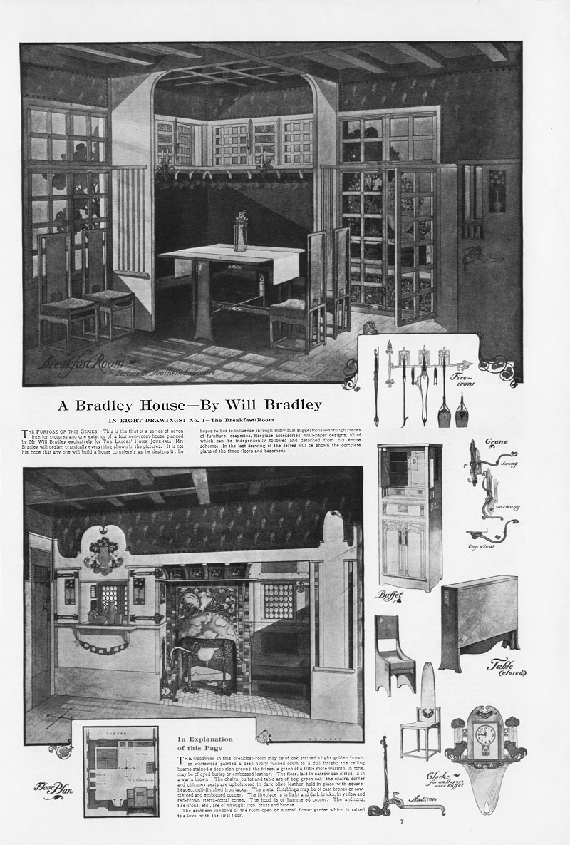 American art nouveau furniture and interior design by Will H. Bradley, Ladies' Home Journal, Nov 1901.
