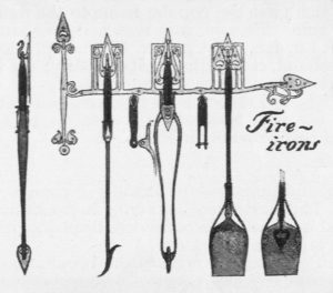 American Art Nouveau fireplace fire irons tool design, Will H. Bradley, 1901.