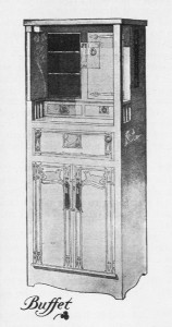 American Art Nouveau arts and crafts oak buffet design, Will H. Bradley, 1901.