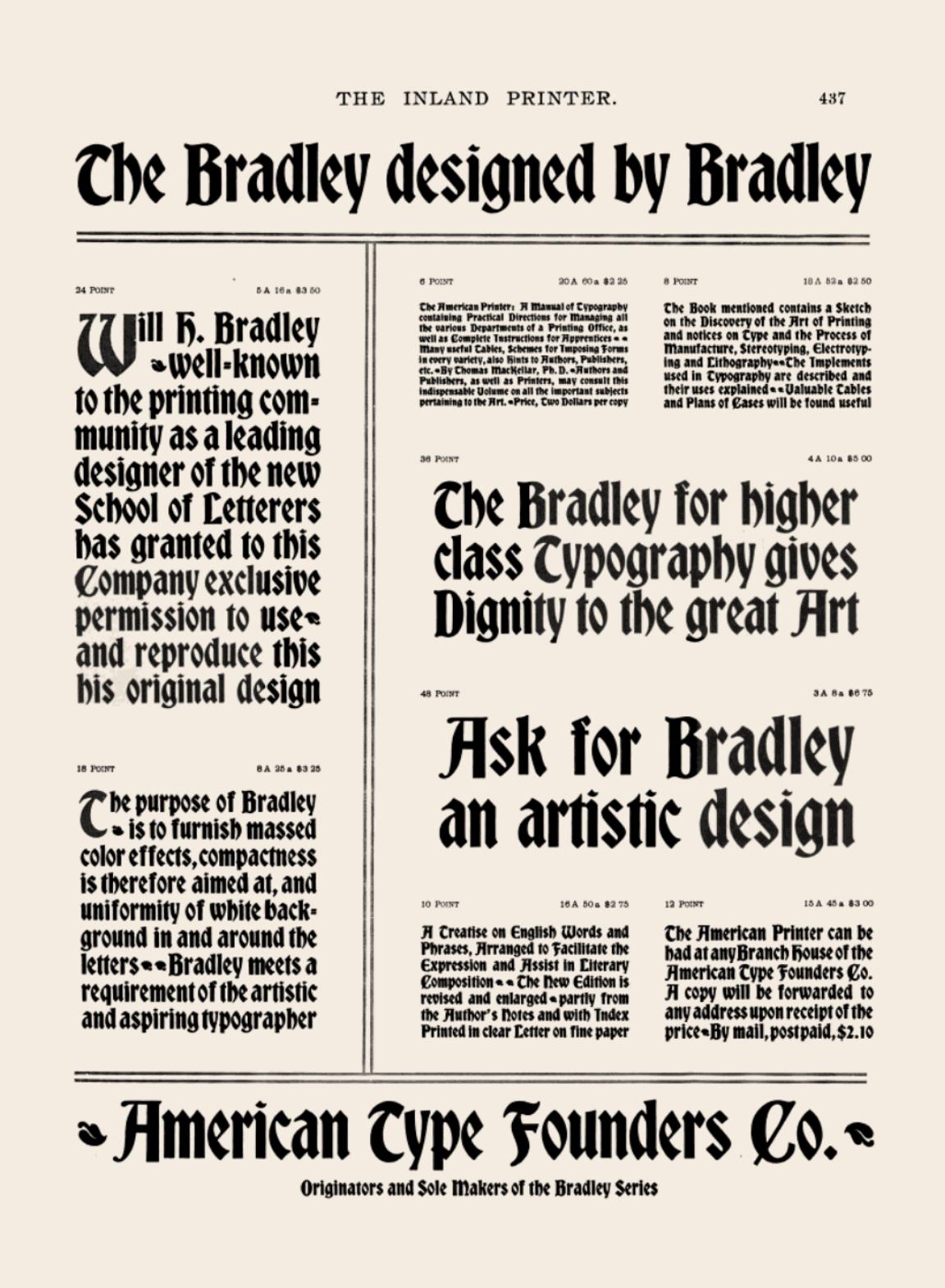 1895 October Inland Printer ATF Bradley Series ad